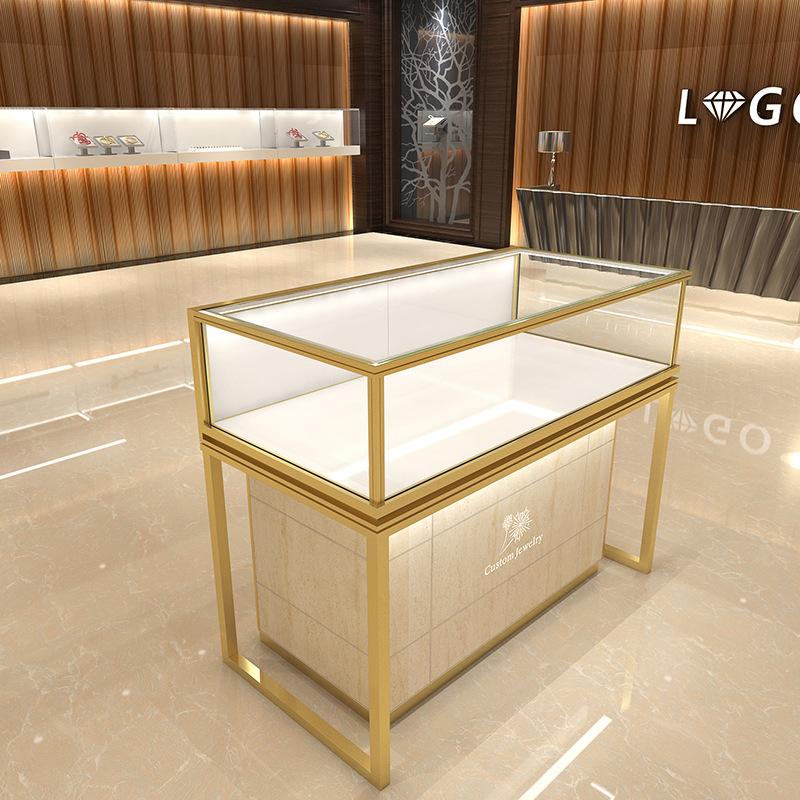 仿大理石珠宝柜钢化玻璃饰品展示柜